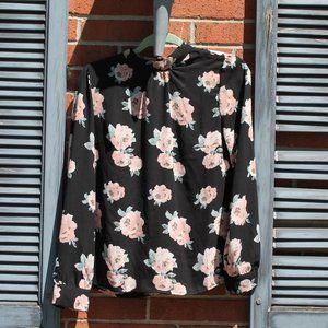 thin floral long sleeved blouse